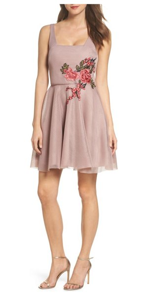 Sequin Hearts applique mesh fit & flare dress in mauve/ fuschia - Luxuriant blooms float atop the waist of a fine-mesh...