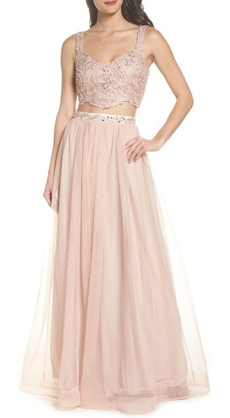 Sequin Hearts beaded lace two-piece gown in pink