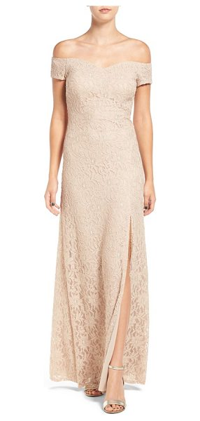 Sequin Hearts off the shoulder lace gown in nude/ gold - Elegant and understated, the lacy gown is cut with a...