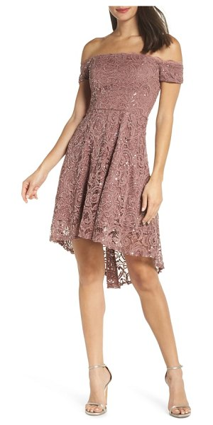 Sequin Hearts off the shoulder sequin lace cocktail dress in pink
