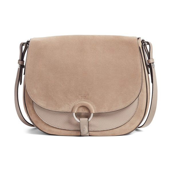 SERAPIAN MILANO mini nefer cachemire crossbody bag in mud/ sahara - Inspired by the silhouettes of the '70s, this...