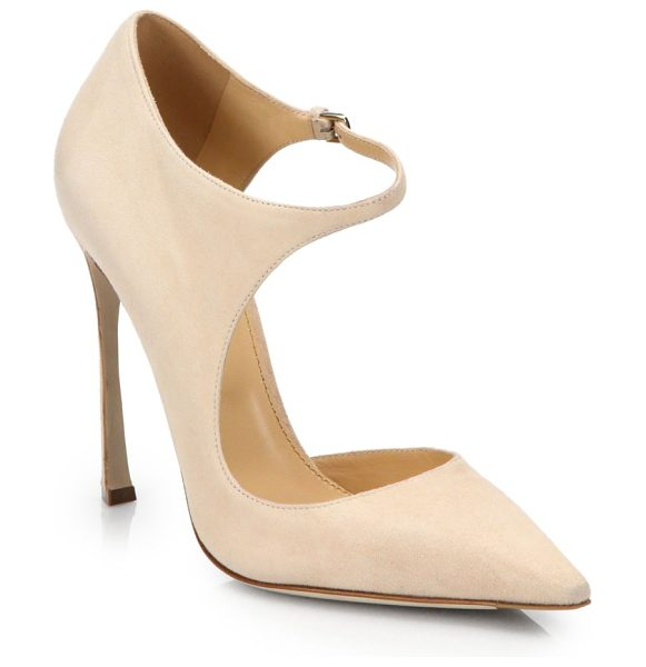 Sergio Rossi Cutout suede pumps in nude - EXCLUSIVELY AT SAKS IN INDIGO. An undeniably modern...