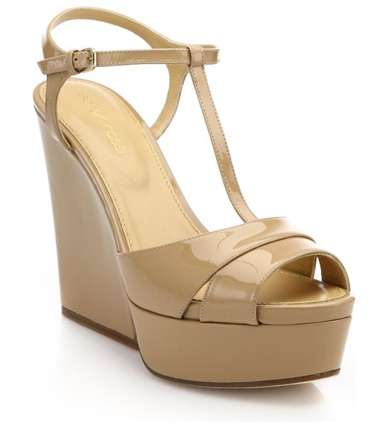 Sergio Rossi edwige patent leather t-strap wedge sandals in honeycream - Platform wedge sandals in glossy patent leather....