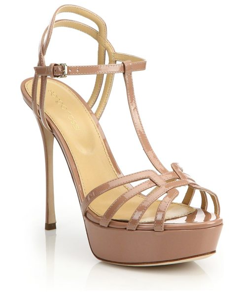 Sergio Rossi ines patent t-strap platform sandals in skin - Luxe patent platforms exude feminine glam. Self-covered...