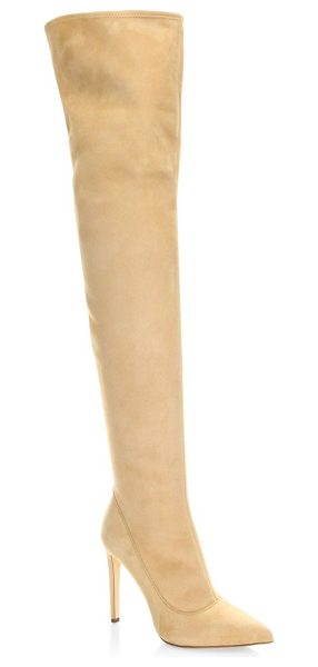 Sergio Rossi matrix suede over-the-knee boots in nude - From the Matrix Collection. Luxe over-the-knee boots...