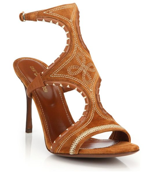 Sergio Rossi Maya embroidered sandals in camel - Boho luxe heeled sandals in embroidered suedeStacked...