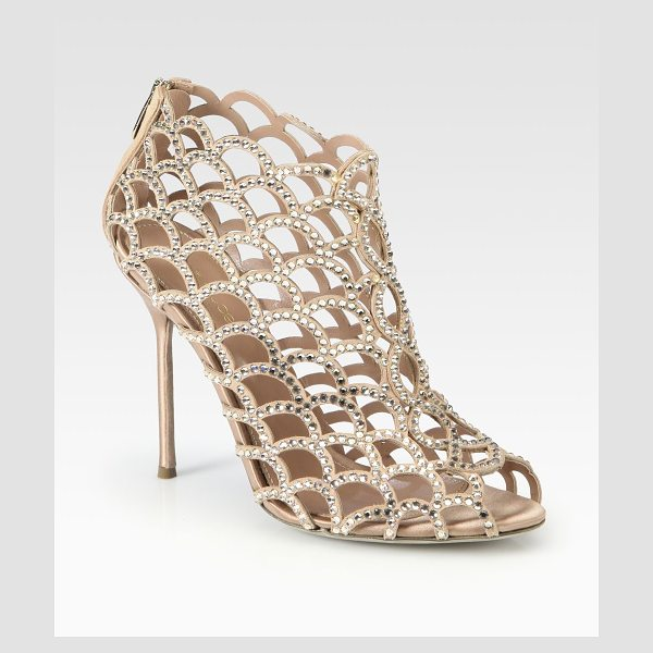 Sergio Rossi mermaid swarovski crystal booties in nude - Glittering Swarovski crystals coat this modern cage...