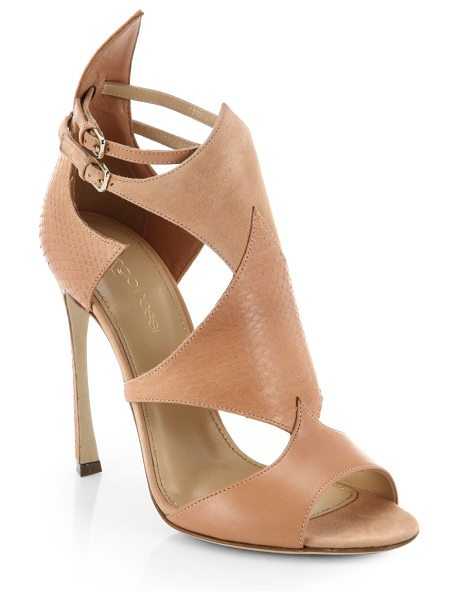 Sergio Rossi Patricia leather, watersnake and suede sandals in blush - These fiercely chic, angular sandals embrace a luxe...