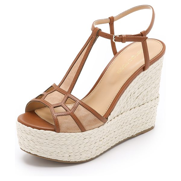 Sergio Rossi Puzzle wedges in honey cream - Soft suede panels are outlined with leather strips on...