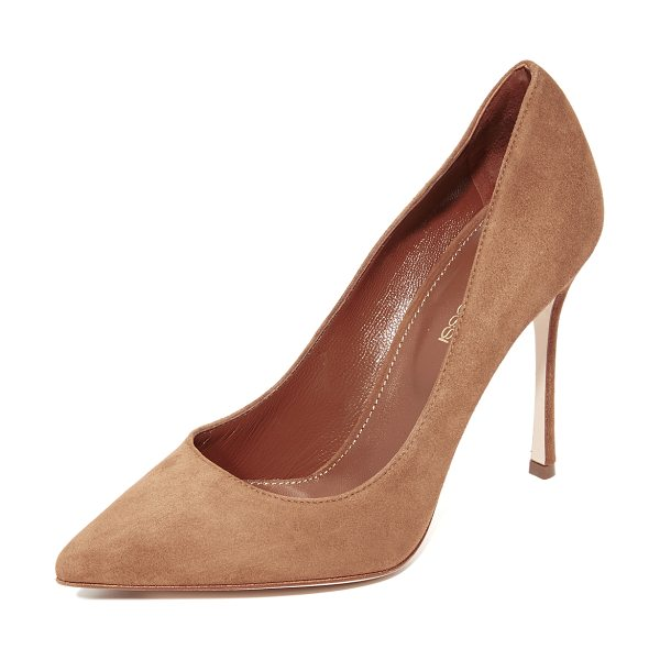 Sergio Rossi godiva pumps in tan - These classic pointed-toe Sergio Rossi pumps are crafted...