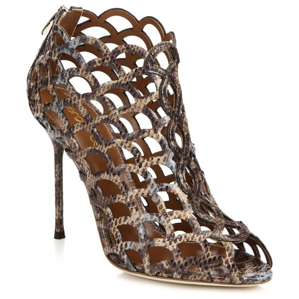 Sergio Rossi Snakeskin cage sandal booties in brown - EXCLUSIVELY AT SAKS. Artfully crafted cage booties make...