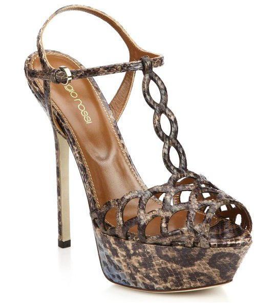Sergio Rossi Snakeskin platform sandals in brown - EXCLUSIVELY AT SAKS. Glamorous skyscraper sandals...