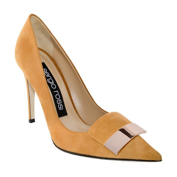 Sergio Rossi SR1 Suede Placked Pump in brown - This *Sergio Rossi* pump is rendered in suede and...