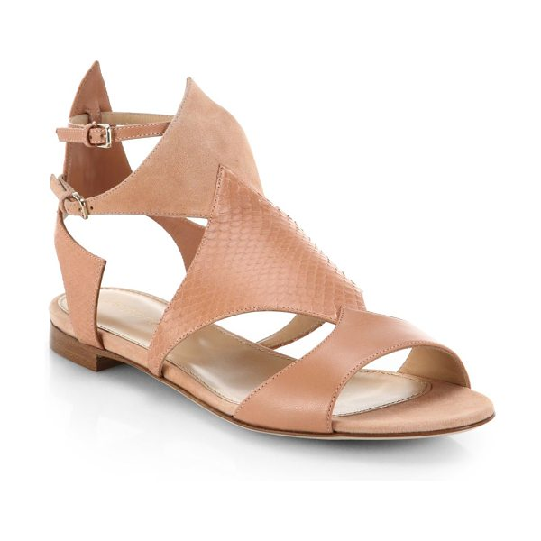 Sergio Rossi Patricia leather, watersnake and suede flat sandals in blush - A sharply cut, neutrally hued style spliced in a chic...