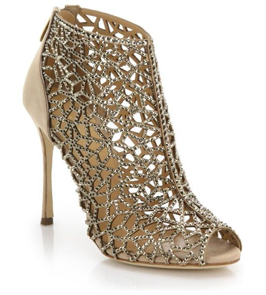 Sergio Rossi Tresor swarovski cage suede sandals in nude - Shimmering jewels trace every angle of this elaborately...