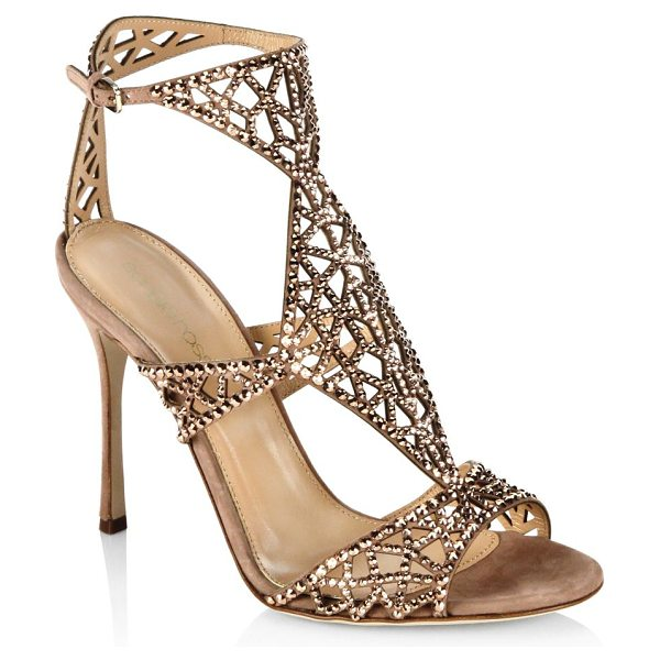 Sergio Rossi tresor swarovski crystal and suede sandals in red beige