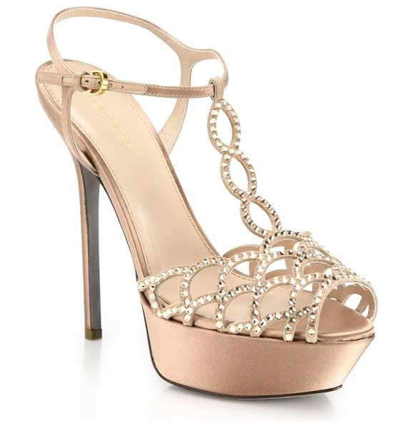 Sergio Rossi Vague swarovski crystal t-strap sandals in beige - Signature platform design in luxurious Italian satin,...