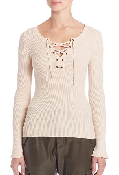 SET lace-up long sleeve sweater in oyster - EXCLUSIVELY AT SAKS FIFTH AVENUE. Elegant ribbed...