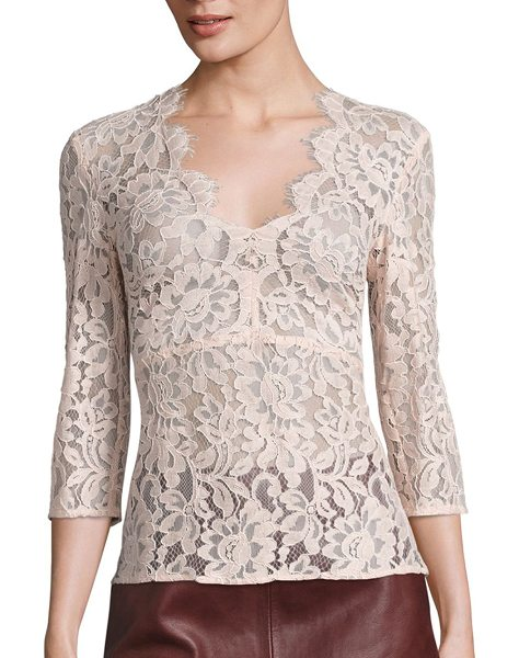 SET lace v-neck blouse in sepia rose - EXCLUSIVELY AT SAKS FIFTH AVENUE. Scalloped floral lace...