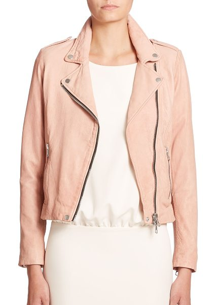 SET The tyler leather moto jacket in rose - EXCLUSIVELY AT SAKS FIFTH AVENUE. Cut from supple lamb...