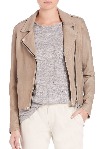 SET the tyler leather moto jacket in taupe - EXCLUSIVELY AT SAKS FIFTH AVENUE. Cut from supple lamb...