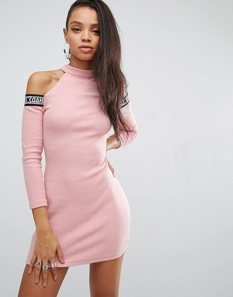 SHADE LONDON Shade London Bodycon Dress With Tape Logo & Cold Shoulder in pink - Dress by SHADE, Stretch rib fabric, High neck,...