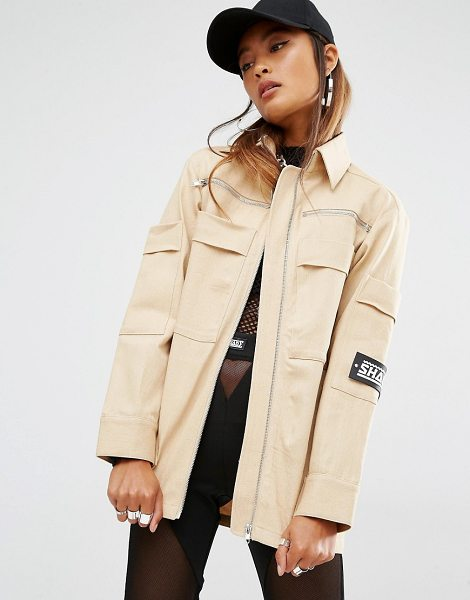 SHADE London Shade London Oversized Military Shirt Jacket in cream - Jacket by SHADE, Cotton twill, Point collar, Zip...