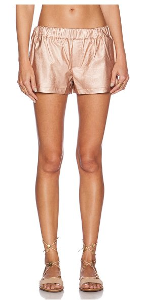 SHADES OF GREY BY MICAH COHEN Faux leather gym short in metallic copper - 60% polyurethane 40% viscose. Dry clean only. Shorts...