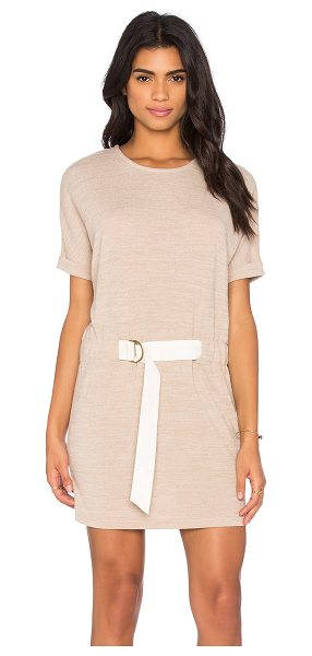 Shades of Grey by Micah Cohen Judo Belt Bag Dress in beige - 95% poly 5% spandex. Hand wash cold. Unlined. Knit...