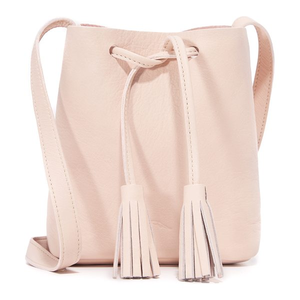 Shaffer Greta drawstring bag in blush - A simple Shaffer drawstring bag in full grain leather....