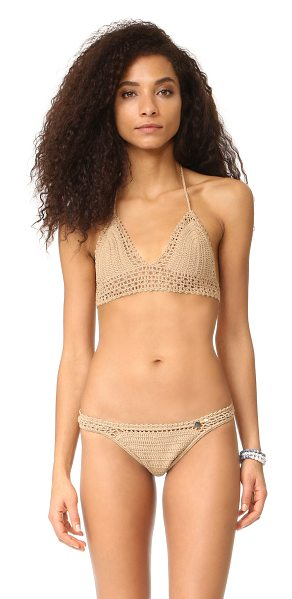She Made Me crochet bralette bikini top in sand - Open crochet forms the wide band on this bralette-style...