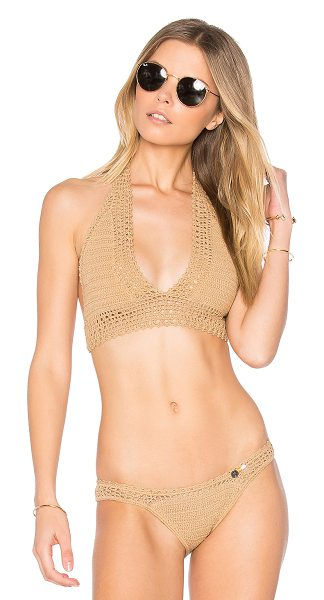 SHE MADE ME Crochet Wide Triangle Top - 100% cotton. Hand wash cold. Halter strap ties around...