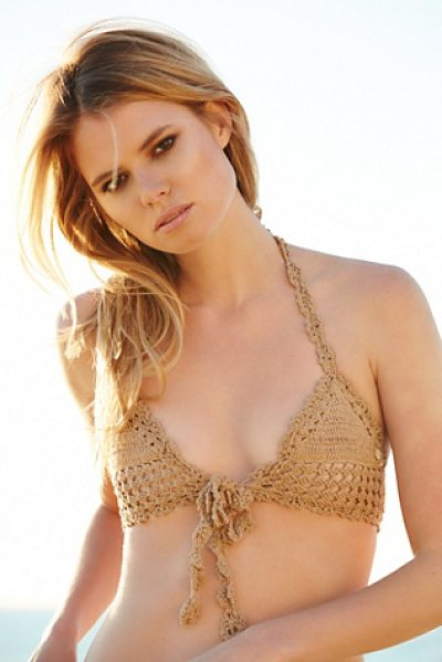 She Made Me Hira tie front top in sand - Artisan handmade halter bikini top featuring a front...