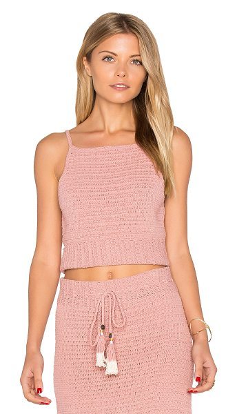She Made Me Jannah Crochet Cami Top in blush - 100% cotton. Hand wash cold. Crochet knit fabric. Rib...