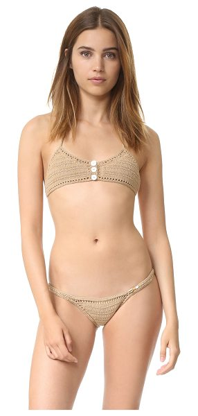 SHE MADE ME Savarna Crochet Triangle Bikini Top - Pearlescent buttons accent the front of this crochet She...