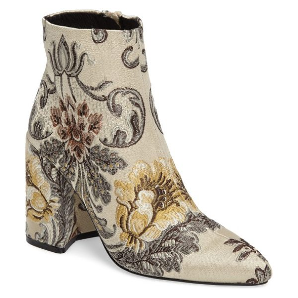 Shellys London emmy brocade bootie in beige - Gorgeous satin-stitch brocade brings texture and shimmer...