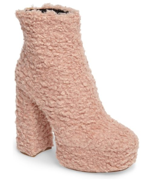 SHELLYS LONDON forrest faux shearlng platform bootie - Extra-woolly faux shearling texture adds a playful...