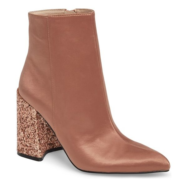 Shellys London hugsy bootie in dark nude satin - A flared block heel with a notched footprint balances...