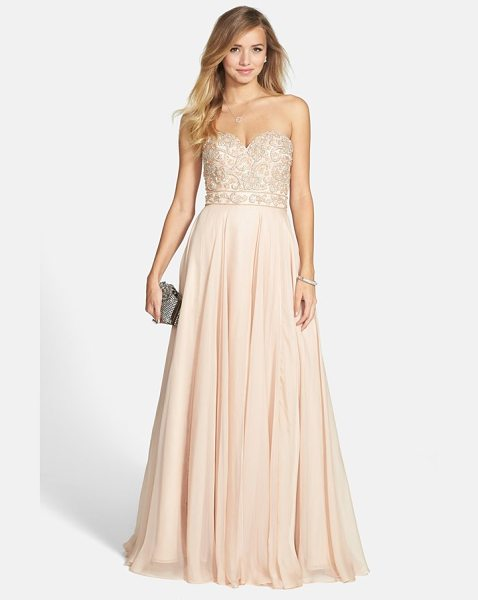 Sherri Hill embellished chiffon strapless gown in nude - Gorgeous pearlescent beads create a rich, ornate pattern...