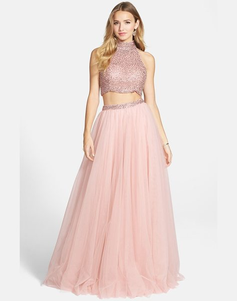 Sherri Hill embellished crop tank & chiffon skirt in blush - Fit for a modern-day fairy-tale, this twosome reinvents...