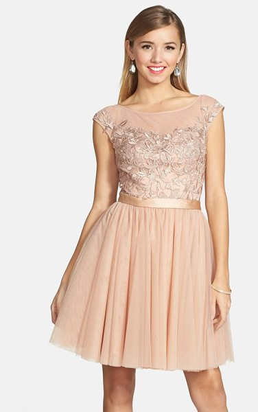 Sherri Hill embellished lace illusion fit & flare dress in nude - Crystals lend light-catching dazzle to the bodice of a...