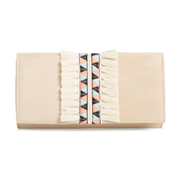 SHIRALEAH rada embroidered clutch - Folkloric-inspired embroidery, framed by lush fringe,...