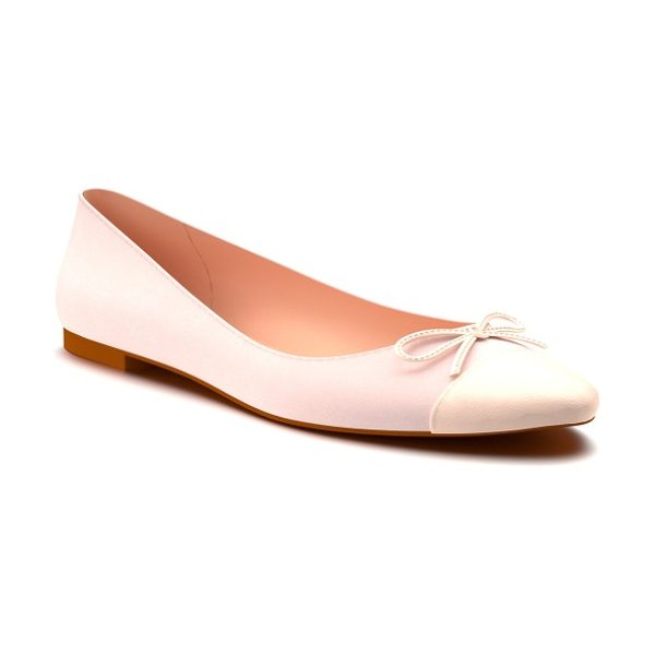 Shoes of Prey almond toe ballet flat in blush suede - A sleek ballet flat is shaped with a graceful almond toe...