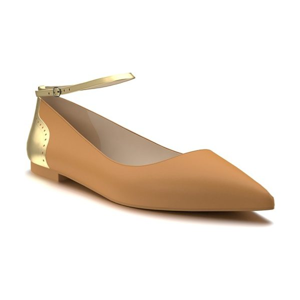 Shoes of Prey ankle strap flat in tan/ gold leather - A slim ankle strap and brogue accent at the heel subtly...