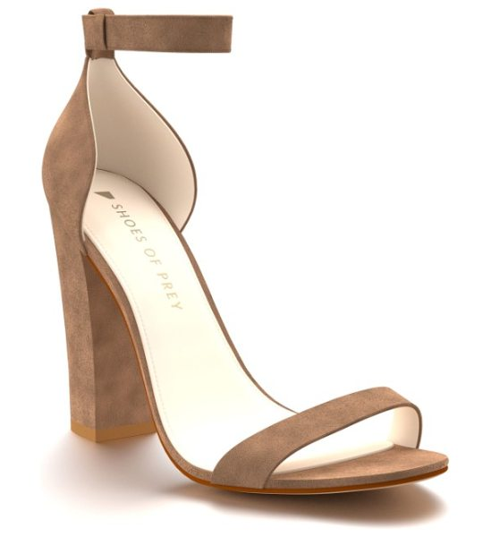 Shoes of Prey ankle strap sandal in tan suede - A chunky wrapped heel adds to the modern style of a...