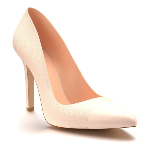 Shoes of Prey cap toe pump in blush nude pebble leather - A glossy cap beautifully contrasts with the smooth...