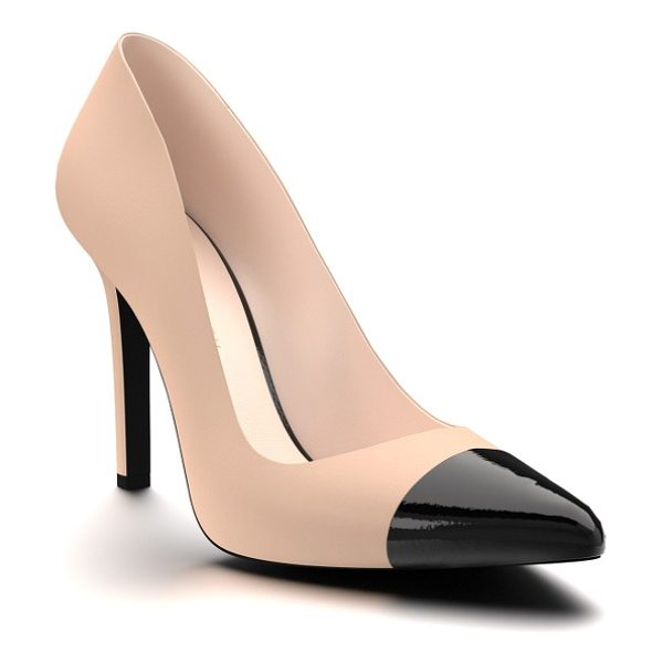 Shoes of Prey cap toe pump in blush leather - A glossy cap beautifully contrasts with the smooth...