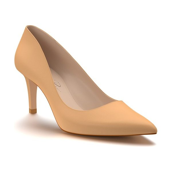 Shoes of Prey pointy toe pump in spiced tan leather - A sleek stiletto heel adds just-right height to a svelte...