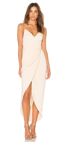 Shona Joy Cocktail Draped Dress in cream - 100% poly. Hand wash cold. Partially lined. Surplice...