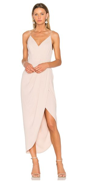 Shona Joy Cocktail Draped Dress in blush - 100% poly. Hand wash cold. Unlined. Hidden back zipper...
